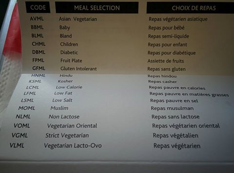 list of special meals on airplane