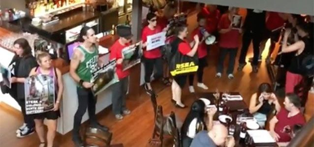 Activists disupting people's meal at Rare Steakhouse in Melbourne