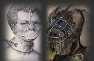 muzzled dog, muzzled black slave