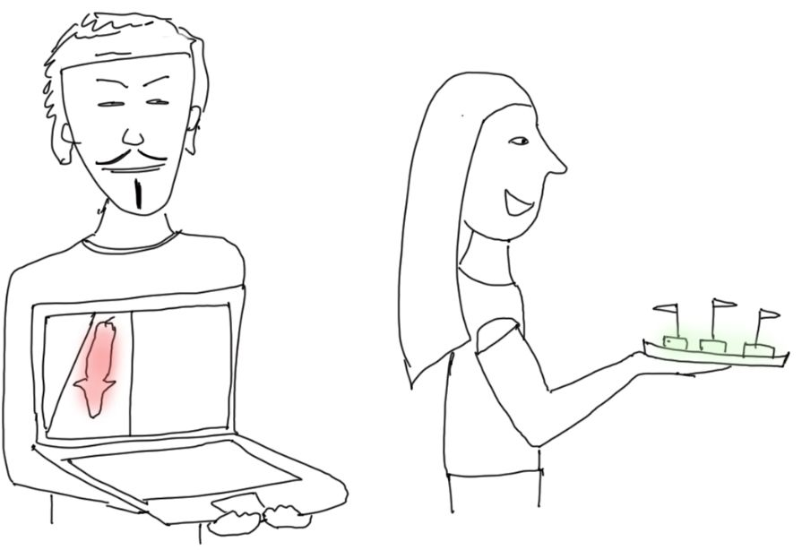 drawing of Anonymous for the Voiceless activists, handing out food samples
